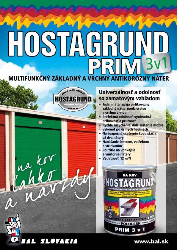 HOSTAGRUND PRIM 3v1- mutifunkčná základná i vrchná farba