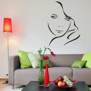Šablóna na stenu - Línia tvár ženy