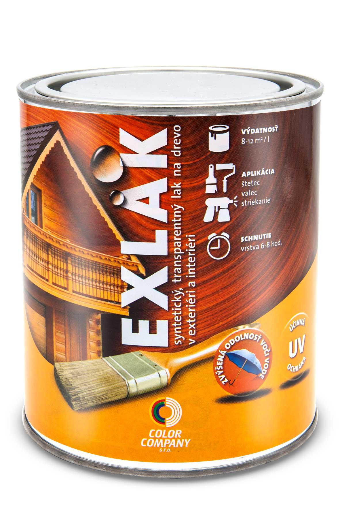 Lak Exlak - bezfarebný vonkajší lak na drevo bezfarebný lesklý 5 l