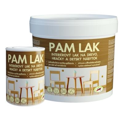 PAM Lak - Interiérový lak na drevo, hračky a detský nábytok 3 l polomatný