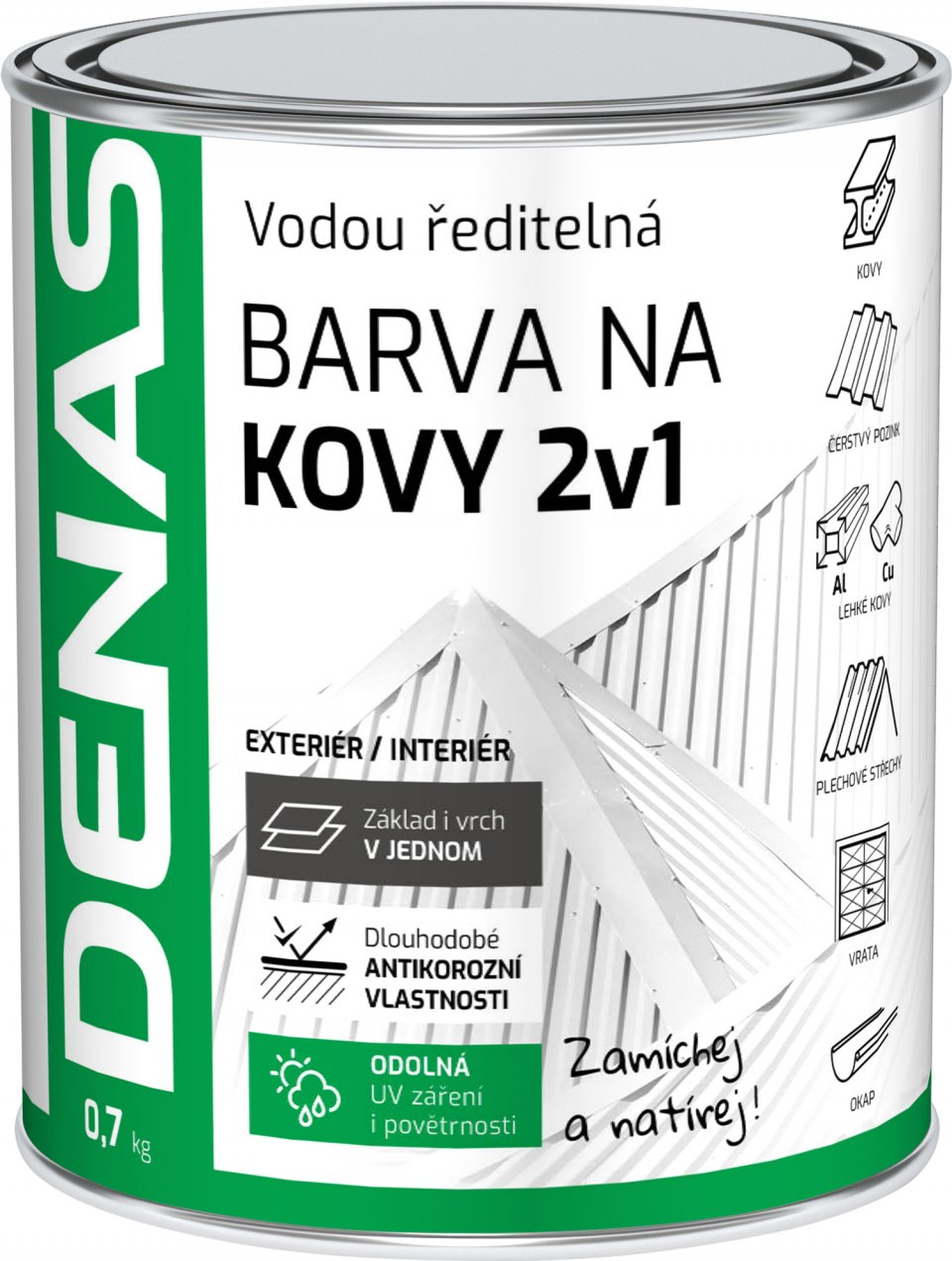 DENAS 2V1 - antikorózna farba na kov